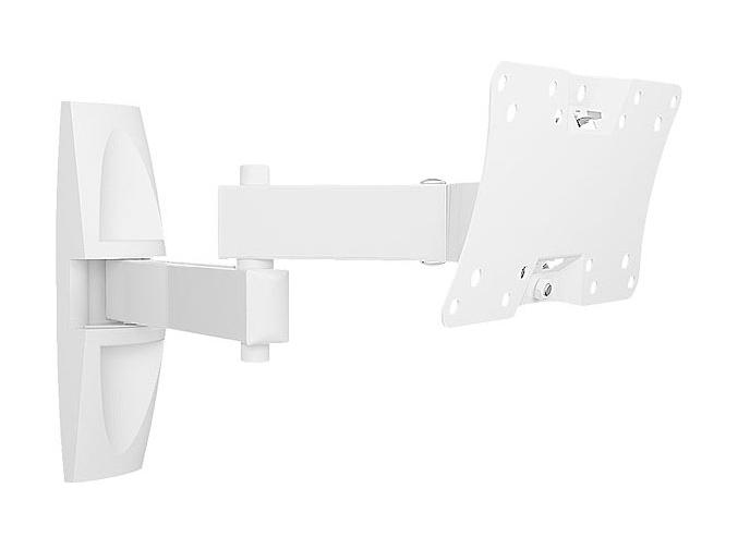 Holder LCDS-5064М, White кронштейн для ТВLCDS-5064М, белыйНастенный наклонно-поворотный кронштейн Holder LCDS-5064М подходит для телевизоров с диагональю 19-32. Кронштейн позволяет наклонять телевизор вверх на 20 градусов или вниз на 20 градусов, обеспечивая комфортный просмотр. Угол наклона и поворота меняется движением одной руки. Фиксирующий механизм надежно удерживает телевизор. В набор входят все необходимые крепежи и инструкция по установке.