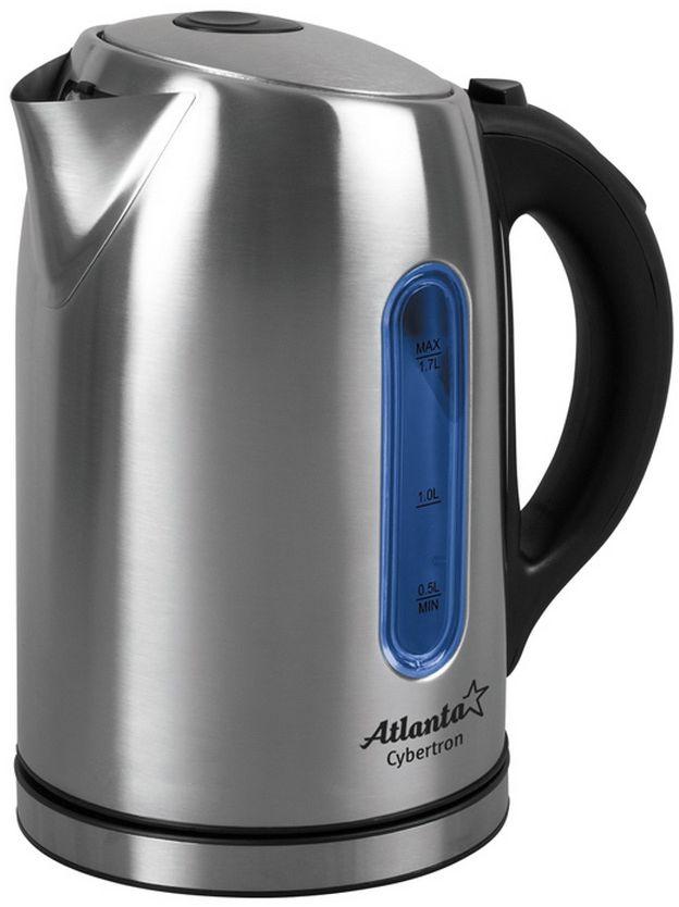 Atlanta ATH-2531 электрический чайникATH-2531Цифровой контролер температуры Объем 1,7 литра Температурная иллюминация Шкала уровня воды Поворот на подставке на 360° Быстрое закипание Фильтр от накипи Закрытый нагревательный элемент Автоматическое отключение Защита от перегрева без воды Электрошнур в цокольной подставке Мощность 2100 Вт, 230V, 50Hz.