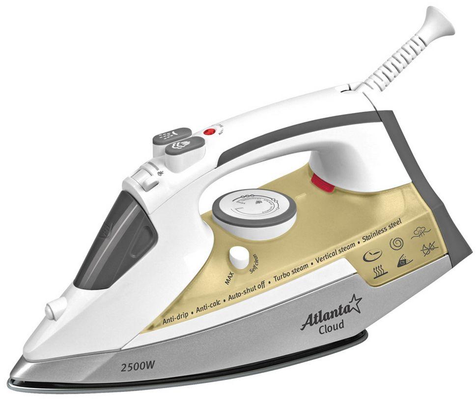 Atlanta ATH-5574, White утюгATH-5574Утюг Atlanta ATH-5574 лучший выбор для активного использования. Он имеет паровые отверстия для качественного отпаривания вашей одежды. Специальная форма носика идеальна для проглаживания труднодоступных мест. С помощью системы вертикального отпаривания можно эффективно разгладить даже самые глубокие складки. Подошва из нержавеющей стали не царапается и не царапает одежду.