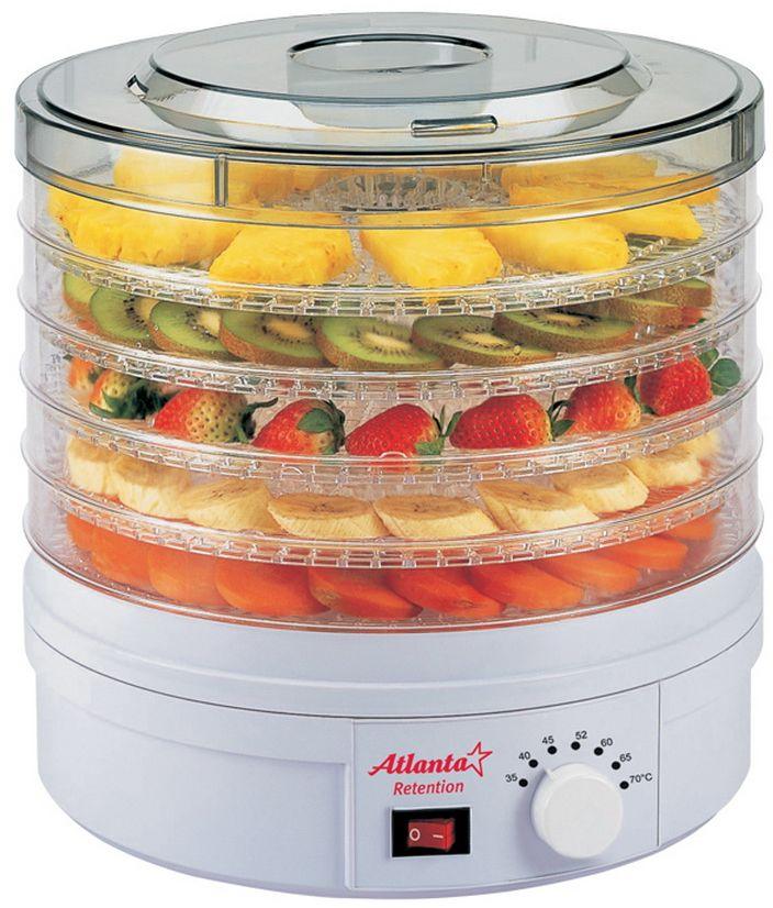 Atlanta ATH-1671 сушилка для овощей и фруктовATH-1671Сушка овощей и фруктов - это самый эффективный способ сохранить в них все важные для здоровья микроэлементы и витамины. С электросушилкой для продуктов Atlanta ATH-1671 процесс стал гораздо проще и эффективнее! Благодаря идеальному соотношению нужной температуры и скорости обдува продукты просушиваются равномерно и невероятно быстро!