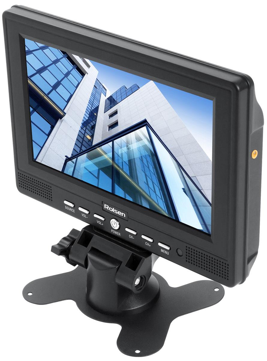 Портативный телевизор Rolsen RCL-700, Black1-RLCA-RCL-700Rolsen RCL-700 - современный портативный автомобильный телевизор с высококачественным экраном и широкими функциональными возможностями. Данная модель имеет поддержку систем PAL, NTSC, SECAM. Помимо стильного внешнего вида и многофункциональности, телевизор отличает продуманный комплект аксессуаров. В комплект поставки, помимо ТВ-антенны, AV-кабеля и обычного сетевого адаптера, входят пульт ДУ, подставка и адаптер питания в автомобиль. Формат: 16:9 Яркость: 300 кд/м2 Контрастность: 400:1 Углы обзора 135/135°