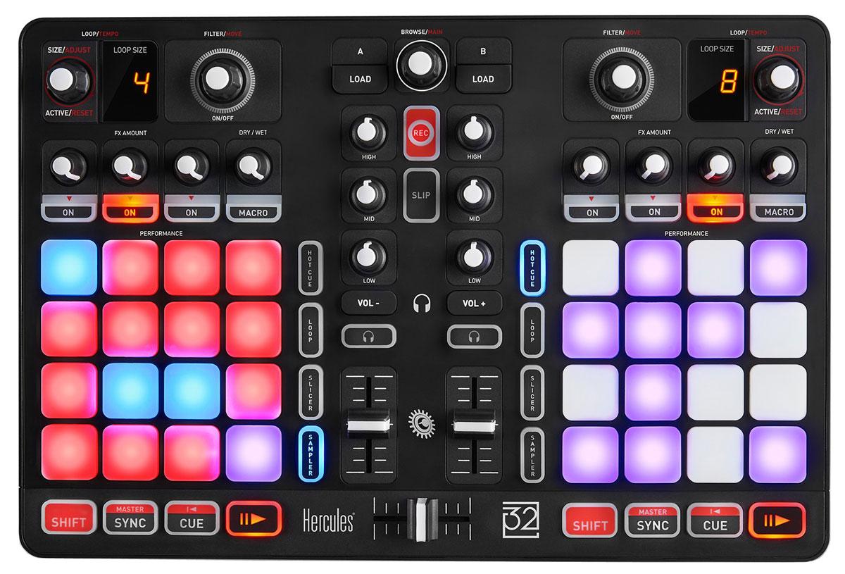 Hercules P32 DJ микшерный пульт4780848Полнофункциональный DJ пульт Hercules P32 DJ с двумя деками, объединяющий возможности микширования и сценического перфоманса. Благодаря двум декам индикации размера циклов, панелям эффектов, эквалайзерам и другим функциям модель превосходно подходит для задач микширования. Если добавить к этому два набора по 16 панелей, пакеты сэмплов программы DJUCED 40° и интеллектуальные функции смещения и дискретизации, получится полный комплект возможностей для диджея. Идеальное сочетание тела и духа Пульт Hercules P32 DJ оснащен 32 эргономичными панелями с высокой скоростью отклика, которые обеспечивают точность исполнения и ощущение высокого качества. Интеллектуальные функции программы DJUCED 40° DJing позволяют поддерживать четкость ритма и структуры треков независимо от эффектов. Все необходимые функции для микширования и ремикширования под рукой. Ваша единственная задача - сфокусироваться на удовольствии творчества. Быть диджеем значит...