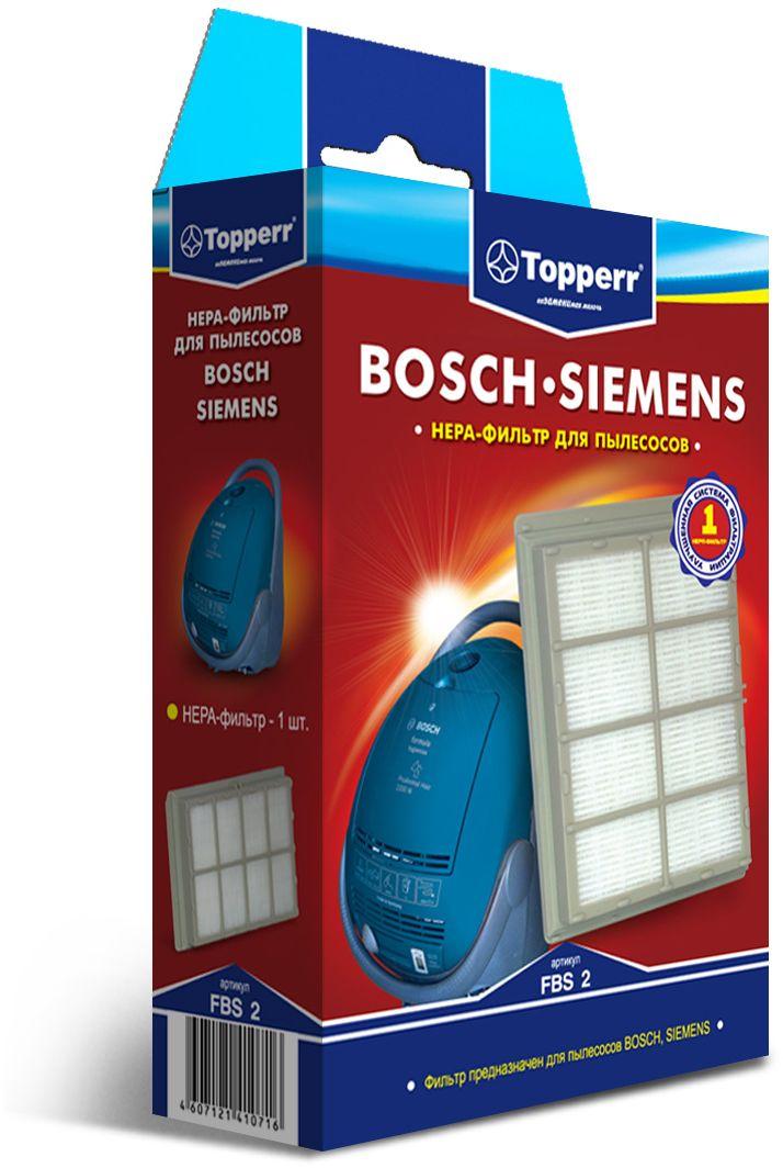 Topperr FBS 2 HEPA-фильтр для пылесосов Bosch, Siemens1102HEPA-фильтр Topperr FBS 2 для пылесосов BOSCH и SIEMENS. Обладает высочайшей степенью фильтрации, задерживает 99,5% пыли. Благодаря специальным свойствам фильтрующего материала, фильтр улавливает мельчайшие частицы, позволяя очищать воздух от пыльцы, микроорганизмов, бактерий и пылевых клещей.