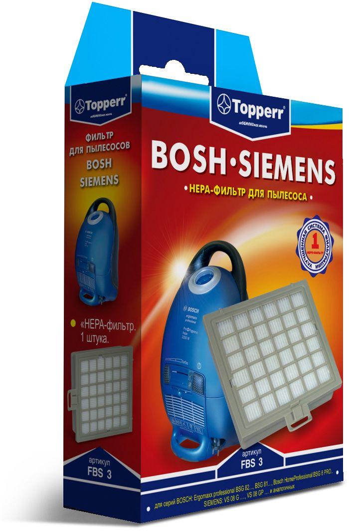 Topperr FBS 3 HEPA-фильтр для пылесосов Bosch, Siemens1110HEPA-фильтр Topperr FBS 3 для пылесосов BOSCH и SIEMENS. Обладает высочайшей степенью фильтрации, задерживает 99,5% пыли. Благодаря специальным свойствам фильтрующего материала, фильтр улавливает мельчайшие частицы, позволяя очищать воздух от пыльцы, микроорганизмов, бактерий и пылевых клещей.