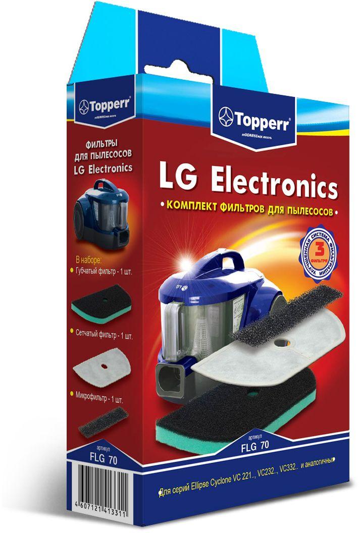 Topperr FLG 70 комплект фильтров для пылесосов LG Electronics1128Набор фильтров Topperr FLG 70 предназначен для пылесосов LG ELECTRONICS серии Ellipse Cyclone. В наборе 3 предмета: - Губчатый фильтр под пылевой контейнер Моющийся фильтр длительного использования защищает двигатель пылесоса от попадания тяжелых частиц пыли. - Сетчатый фильтр Моющийся фильтр длительного использования защищает двигатель пылесоса от попадания мельчайших частиц пыли. - Микрофильтр Моющийся фильтр длительного использования улавливает микрочастицы.