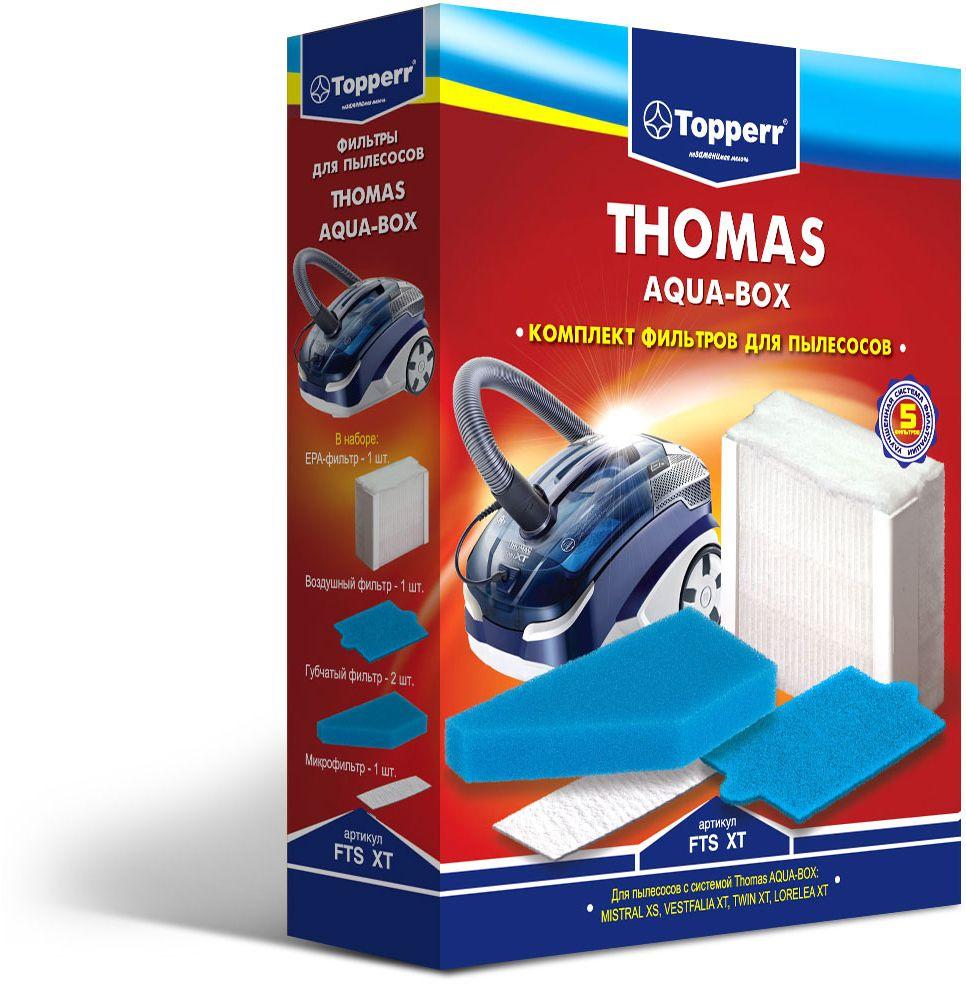 Topperr FTS XT комплект фильтров для пылесосов Thomas1134Набор фильтров Topperr FTS XT для моющих пылесосов THOMAS с системой THOMAS AQUA-BOX. В наборе 5 предметов: - ЕРА-фильтр Обладает высочайшей степенью фильтрации, задерживает 99,5 % пыли. Благодаря специальной концентрации и свойствам фильтрующего материала, фильтр улавливает мельчайшие частицы, позволяя очищать воздух от пыльцы, микроорганизмов, бактерий и пылевых клещей. - воздушный фильтр Моющийся фильтр длительного использования защищает двигатель пылесоса от попадания тяжелых частиц пыли. - микрофильтр Улавливает оставшиеся микрочастицы пыли на выходе из пылесоса. - два губчатых фильтра Улавливают частицы пыли в системе очистки THOMAS AQUA-BOX.