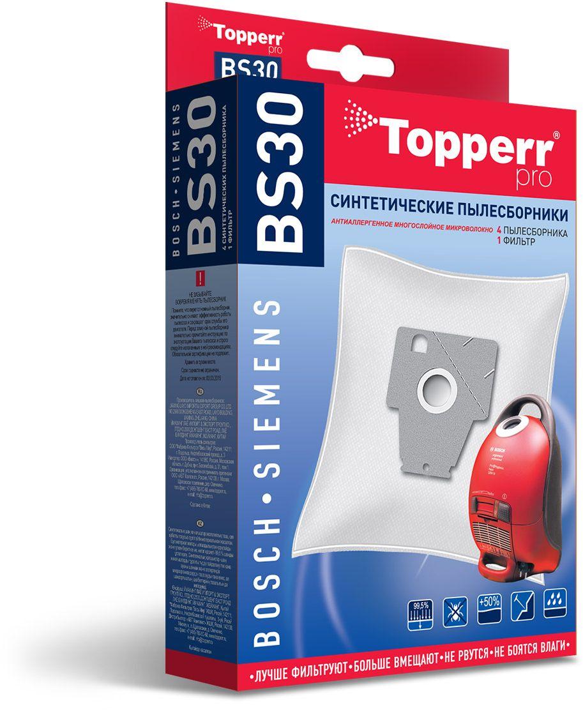 Topperr BS30 фильтр для пылесосов Bosch, Siemens, 4 шт1402Синтетические пылесборники Topperr BS30 подходят для пылесосов BOSCH и SIEMENS произведены из нетканого фильтрующего материала. Данный материал не боится повышенной влажности и обладает большой прочностью, главное качество – способность задерживать 99,5% пыли. Регулярное использование синтетических мешков-пылесборников гарантирует не только очищение воздуха от пыли и аллергенных микроорганизмов, но и чистоту внутренних поверхностей пылесоса.