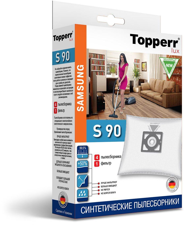 Topperr S 90 фильтр для пылесосов Samsung, 4 шт1419Немецкие синтетические пылесборники Topperr S 90 подходят для пылесосов SAMSUNG, произведены из экологически чистого, многослойного нетканого фильтрующего материала MicrofiltPlus. Данный материал не боится повышенной влажности и обладает большой прочностью, главное качество — способность задерживать 99,5% пыли; сохраняет мощность всасывания пылесоса до полного заполнения пылесборника, также продлевает срок службы пылесоса. Регулярное использование синтетических мешков-пылесборников гарантирует не только очищение воздуха от пыли и аллергенных микроорганизмов, но и чистоту внутренних поверхностей пылесоса.