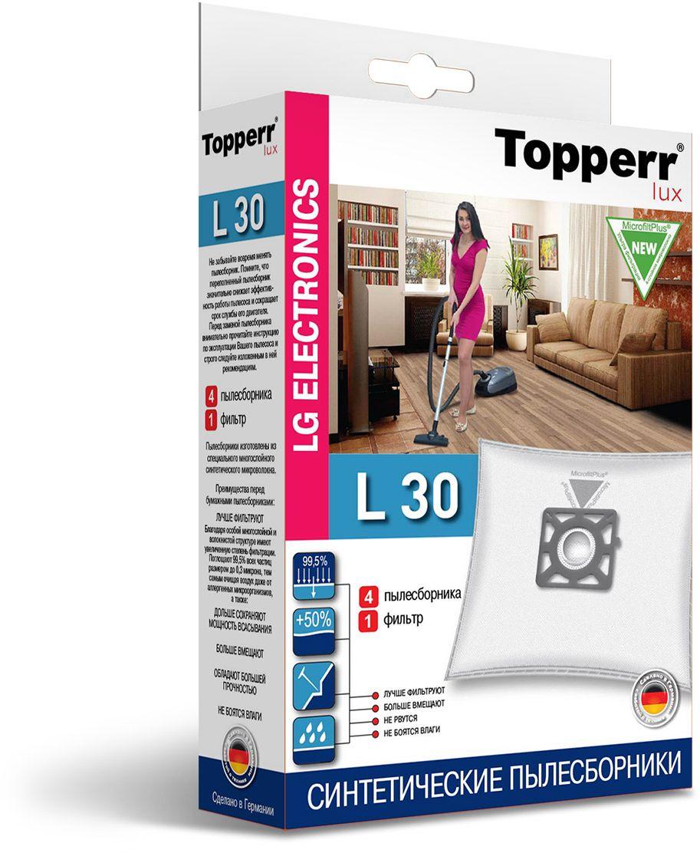 Topperr L 30 фильтр для пылесосов LG Electronics, 4 шт1420Немецкие синтетические пылесборники TOPPERR LUX подходят для пылесосов LG ELECTRONICS, произведены из экологически чистого, многослойного нетканого фильтрующего материала MicrofiltPlus. Данный материал не боится повышенной влажности и обладает большой прочностью, главное качество — способность задерживать 99,5% пыли; сохраняет мощность всасывания пылесоса до полного заполнения пылесборника, также продлевает срок службы пылесоса. Регулярное использование синтетических мешков-пылесборников гарантирует не только очищение воздуха от пыли и аллергенных микроорганизмов, но и чистоту внутренних поверхностей пылесоса.