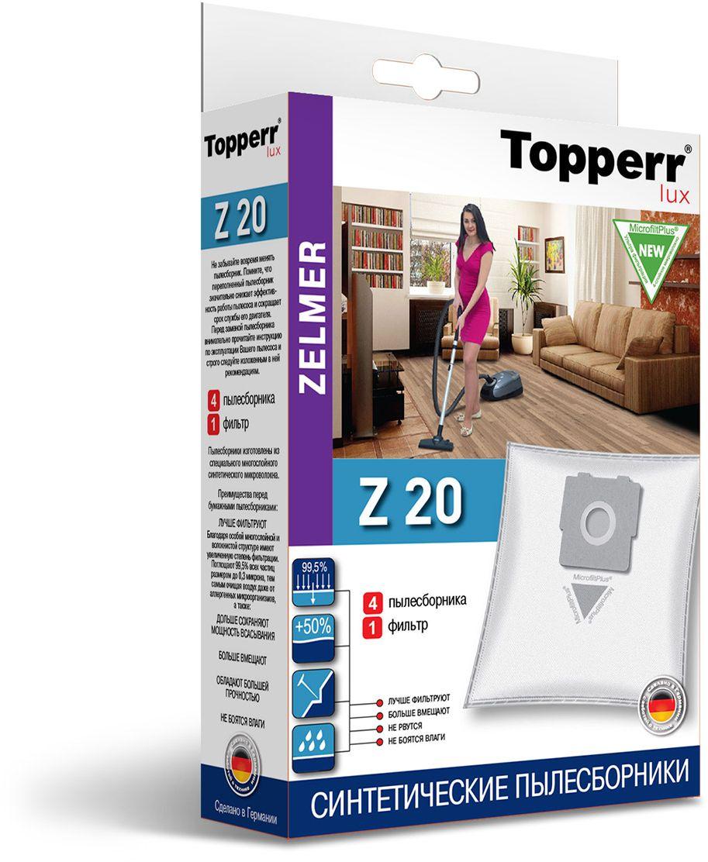 Topperr Z 20 фильтр для пылесосов Zelmer, 4 шт1424Немецкие синтетические пылесборники TOPPERR LUX подходят для пылесосов ZELMER, BORK, произведены из экологически чистого, многослойного нетканого фильтрующего материала MicrofiltPlus. Данный материал не боится повышенной влажности и обладает большой прочностью, главное качество — способность задерживать 99,5% пыли; сохраняет мощность всасывания пылесоса до полного заполнения пылесборника, также продлевает срок службы пылесоса. Регулярное использование синтетических мешков-пылесборников гарантирует не только очищение воздуха от пыли и аллергенных микроорганизмов, но и чистоту внутренних поверхностей пылесоса.
