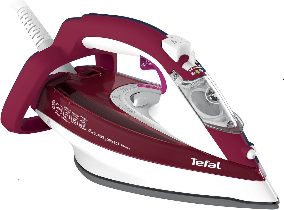 Tefal FV5535 Aquaspeed утюгFV5535E0Утюг Tefal FV5535 Aquaspeed - идеальный выбор для людей, которые ценят свое время и предпочитают делать домашние дела легко и непринужденно! Благодаря инновационной подошве Durilium 360°, утюг идеально скользит по ткани и без труда разглаживает даже самые сложные складки. Наличие функции автоотключения гарантирует вашу безопасность, если вы случайно забыли отключить утюг от сети. В этом случае он автоматически отключится через 8 минут в вертикальном положении или 15 секунд в горизонтальном. Данная модель имеет массу дополнительных функций, обеспечивающих абсолютный комфорт при работе с утюгом и продлевающих срок его службы - функция самоочистки, Капля-стоп, вертикальное отпаривание, паровой удар, функция увлажнения. Вместительный резервуар для воды объемом 300 мл обеспечивает долгую непрерывную работу с паром. Интегрированная защита от накипи Anti Scale System Противоизвестковый стержень Широкое отверстие для залива Система...