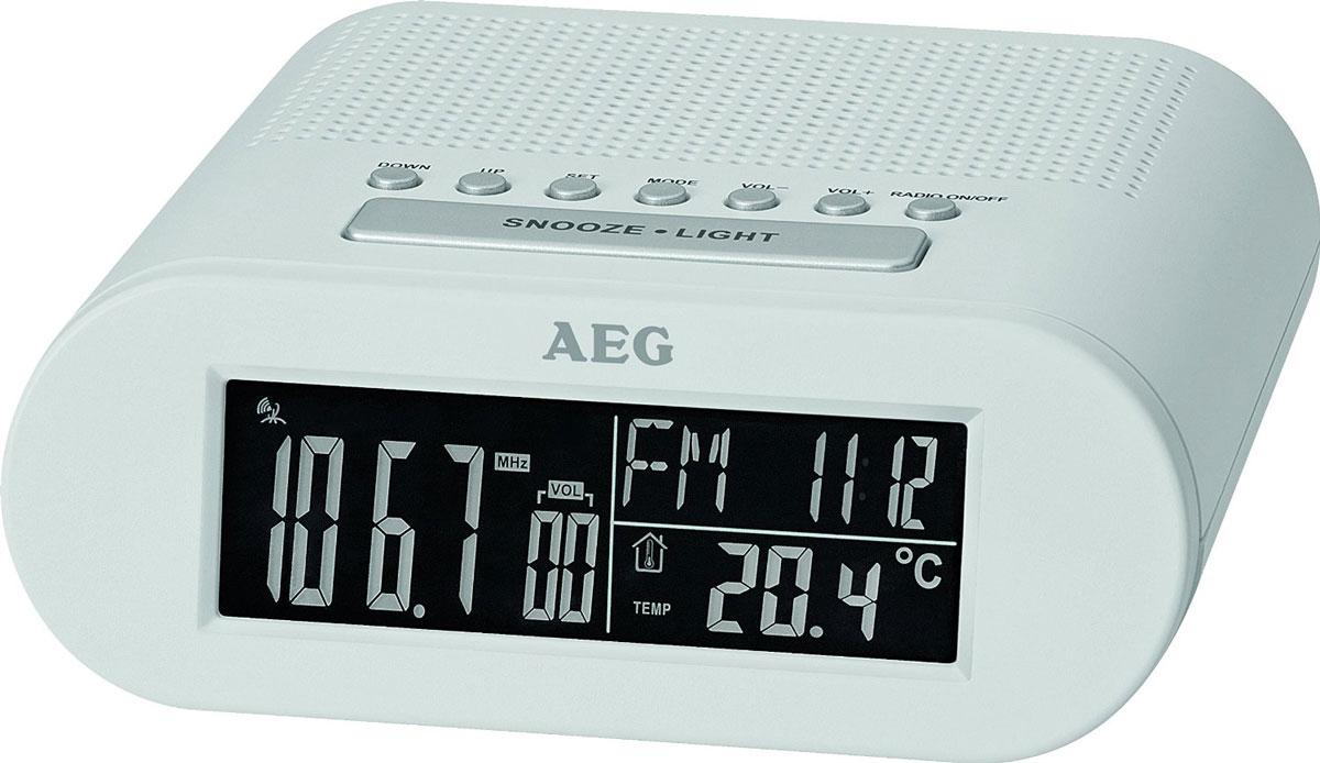 AEG MRC 4145 F, White радиочасыMRC 4145 F weisРадиочасы AEG MRC 4145 F оснащены большим черно-белым LCD-дисплеем (около 10 см) и функцией автоматической синхронизации часов. На дисплее отображаются дата, день недели и текущий месяц; температура, уровень звука, а также частота радиостанции. Будильник: выбор сигнала - радио или будильник Часы: черно-белый LCD-дисплей (24 часа)