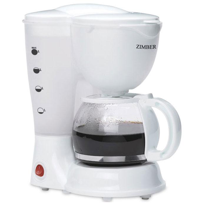 Zimber ZM-11009 кофеваркаZM-11009С помощью капельной кофеварки Zimber ZM-11009 вы сможете приготовить вкусный натуральный кофе. Кофеварка рассчитана на приготовление 625 мл кофе. Световой индикатор позволят отследить работу прибора. Zimber ZM- 11009 имеет высококачественный пластиковый корпус и оснащен функцией поддержания тепла.