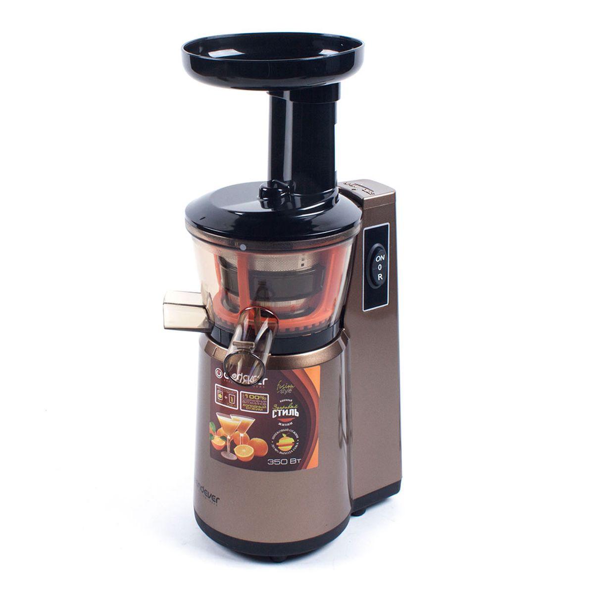 Endever Sigma-93 соковыжималкаSigma-93Шнековая соковыжималка Endever Sigma-93 позволяет отжимать максимально возможное количество сока из фруктов, ягод, овощей и зелени с сохранением всех полезных компонентов. В отличие от обычной центробежной высокоскоростной соковыжималки, шнековая соковыжималка Endever потребляет всего 350 Вт. При этом, модель Sigma-93 отжимает сок так же быстро и аккуратно, не разрушая естественные питательные вещества и сохраняя пищевую ценность продуктов. Холодный прессовый отжим Функция реверс Удобная прозрачная емкость для сока