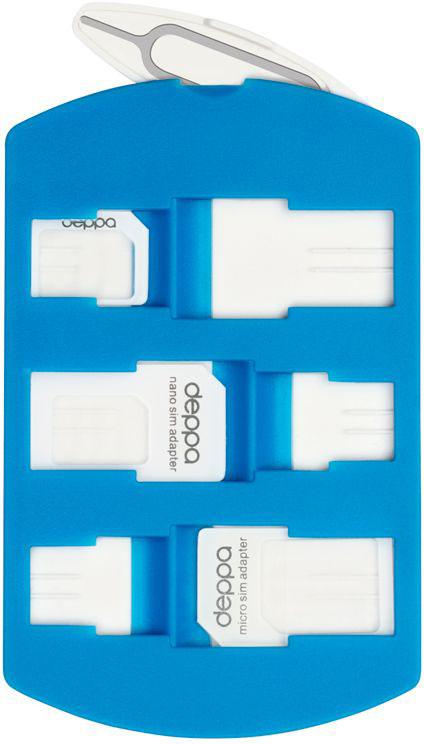 Deppa Sim Card адаптеры и система хранения74001Набор SIM адаптеров Deppa Sim Card предоставляет возможность использовать одну SIM-карту на мобильных устройствах разных типов. При помощи адаптера Вы можете преобразовать Nano-SIM в Micro-SIM, либо в стандартную SIM-карту, что позволяет использовать Nano и Micro SIM- карты со всеми мобильными устройствами.