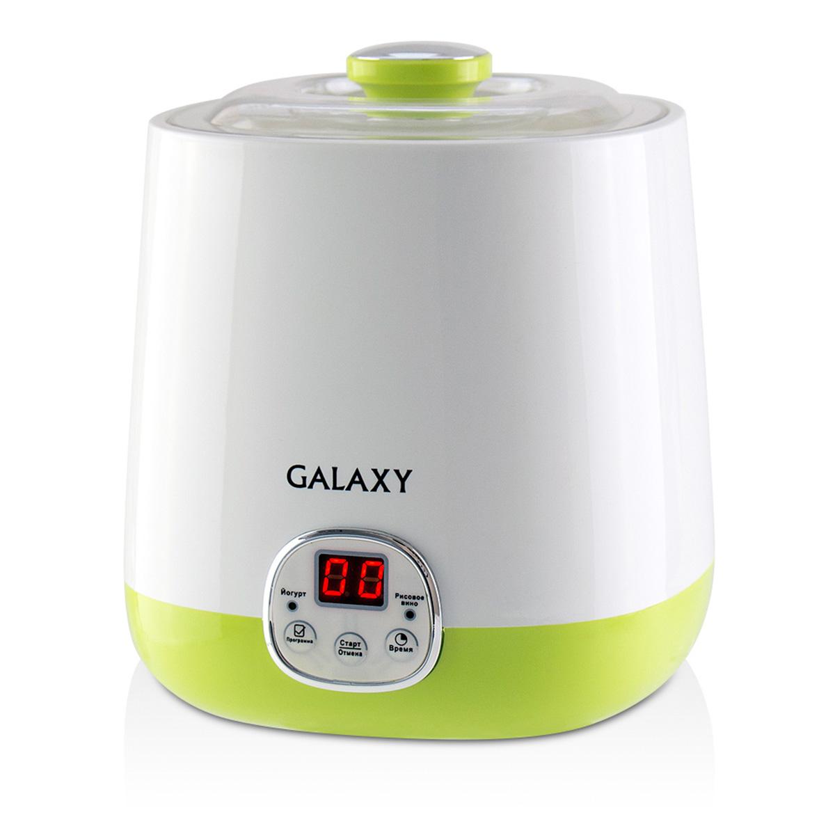 Galaxy GL 2692 йогуртница4630003365330Мощность 20Вт Объем контейнера 1л Электронное управление Светодиодный дисплей Индикаторы программ Таймер на 48 часов Низкое потребление электроэнергии Функция приготовления рисового вина Питание 220-240В, 50Гц