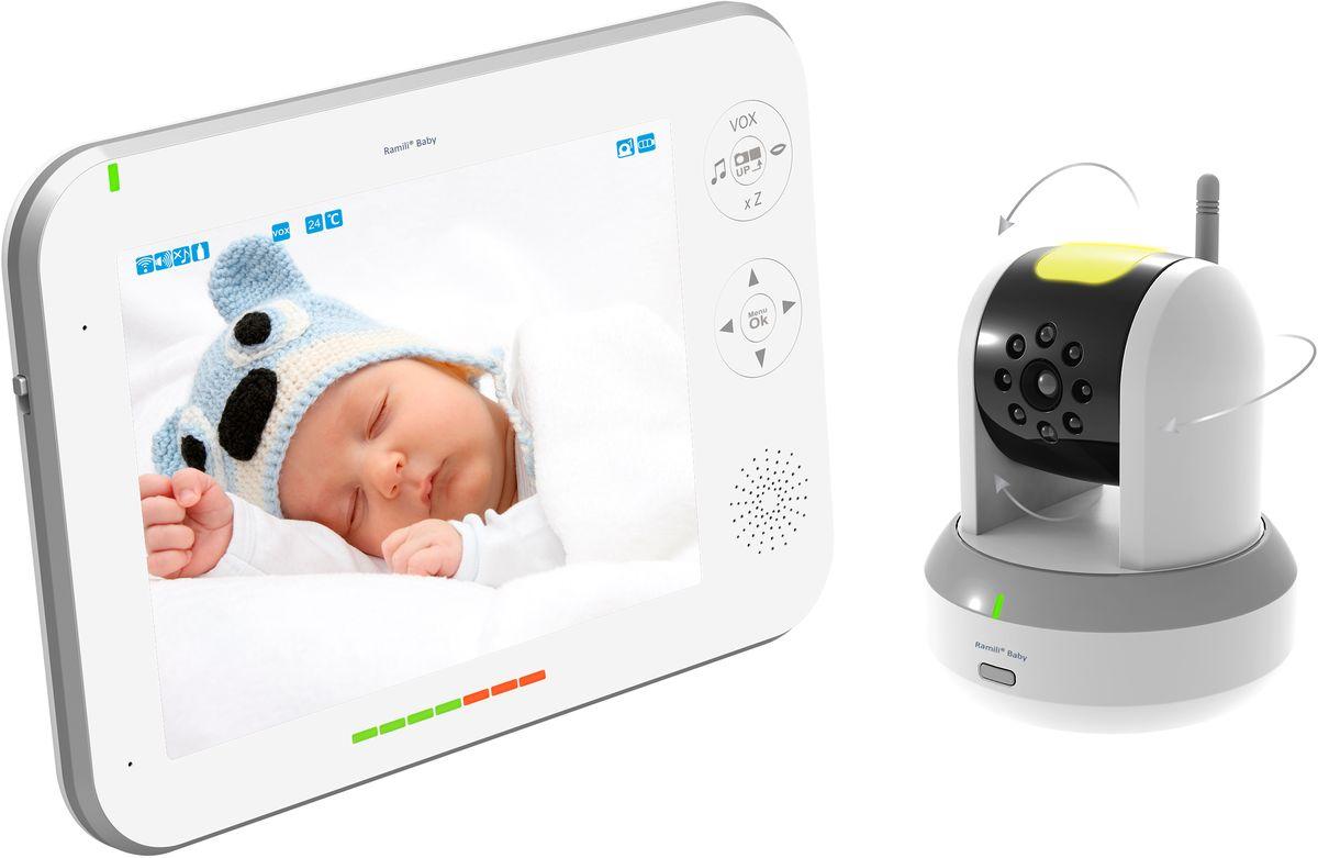 Ramili Видеоняня Baby RV700RV700Видеоняня с большим дисплеем (20,3 см или 8 дюймов) от английского производителя детских товаров Ramili. Видеоняня вобрала в себя все необходимые и самые современные функции, которые понадобятся родителям во время ухода за ребенком. С помощью видеоняни Ramili Baby RV700 вы можете наблюдать за малышом на расстоянии до 300 метров. Большой дисплей удобен тем, что на нём можно разглядеть происходящее в детской даже издалека. Поворотом камеры в любом направлении можно управлять с родительского блока. Используются цифровая связь и специальная система защиты от посторонних помех, поэтому изображение и звук передаются стабильно, а само устройство отличается высокой степенью надежности и безопасности. Устройство может работать в режиме непрерывного мониторинга или включаться и подавать визуальные и звуковые сигналы тревоги при обнаружении детского плача или при обнаружении движения в детской (функция «детектор движения»). Родительский и детский блоки видеоняни могут работать даже без...