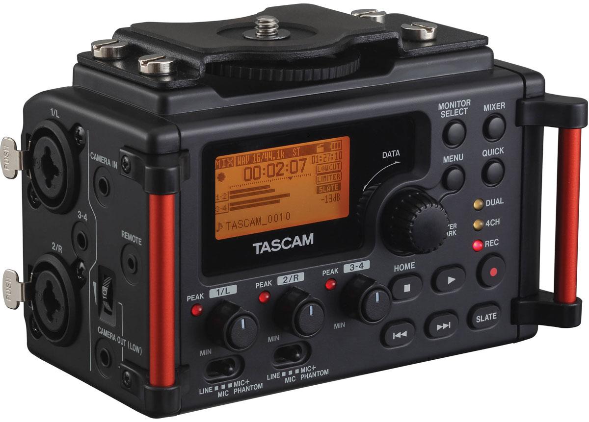 Tascam DR-60DMK2 стерео рекордер для камерыDR-60DMK2Tascam DR-60DMK2 - обновленная модель портативного 4-канального рекордера, который был создан для работы совместно с такими цифровыми камерами, как DSLM и DSLR. Устройство оснащено невесомым, но крайне прочным корпусом. Рекордер может крепиться непосредственно к камере или быть установленным на штатив. Благодаря данному девайсу будет улучшено качество звука при записи на карты памяти SD/SDHC с форматом BWF или же WAV, разрешение при этом может достигать 24 бит/96 кГц. Tascam DR-60DMK2 может записывать одновременно с 4 каналов при отдельной регулировке уровней на входах 1-2 и 3-4. Кроме этого, осталась неизменной и функция Dual Recording, при помощи которой можно производить запись двух файлов с разными уровнями без перегрузки устройства. В отличие от предшествующей модели, новинка оснащена лучшими линейными и микрофонными усилителями HDDA, благодаря которым можно получить усиление до 64 дБ безо всяких искажений или шумов. ...