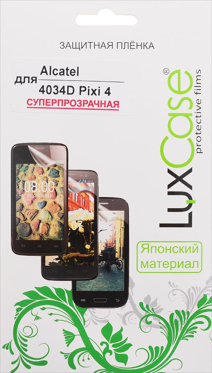 LuxCase защитная пленка для Alcatel OneTouch Pixi 4 (4034D), суперпрозрачная51377Суперпрозрачная защитная пленка LuxCase для Alcatel OneTouch Pixi 4 (4034D) сохраняет экран устройства гладким и предотвращает появление на нем царапин и потертостей. Структура пленки позволяет ей плотно удерживаться без помощи клеевых составов и выравнивать поверхность при небольших механических воздействиях. Пленка практически незаметна на экране гаджета и сохраняет все характеристики цветопередачи и чувствительности сенсора.