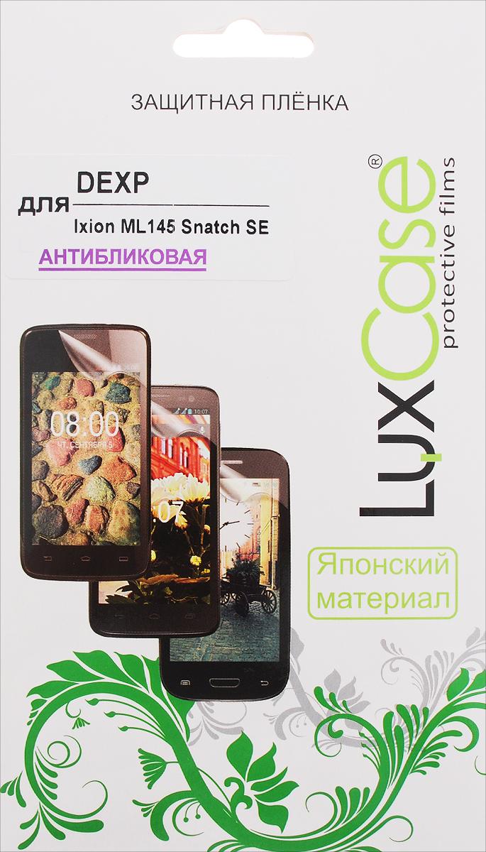 LuxCase защитная пленка для DEXP Ixion ML145 Snatch SE, антибликовая55336Антибликовая защитная пленка LuxCase для DEXP Ixion ML145 Snatch SE сохраняет экран устройства гладким и предотвращает появление на нем царапин и потертостей. Структура пленки позволяет ей плотно удерживаться без помощи клеевых составов и выравнивать поверхность при небольших механических воздействиях. Пленка практически незаметна на экране гаджета и сохраняет все характеристики цветопередачи и чувствительности сенсора.