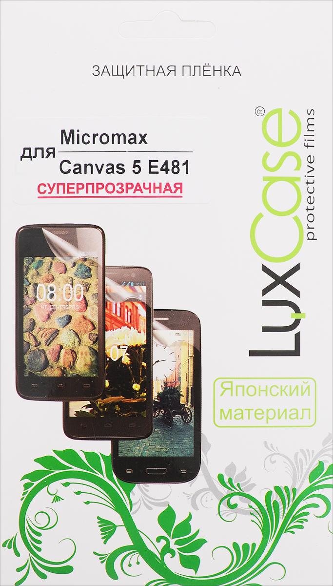 LuxCase защитная пленка для Micromax Canvas 5 E481, суперпрозрачная53653Суперпрозрачная защитная пленка LuxCase для Micromax Canvas 5 E481 сохраняет экран устройства гладким и предотвращает появление на нем царапин и потертостей. Структура пленки позволяет ей плотно удерживаться без помощи клеевых составов и выравнивать поверхность при небольших механических воздействиях. Пленка практически незаметна на экране гаджета и сохраняет все характеристики цветопередачи и чувствительности сенсора.