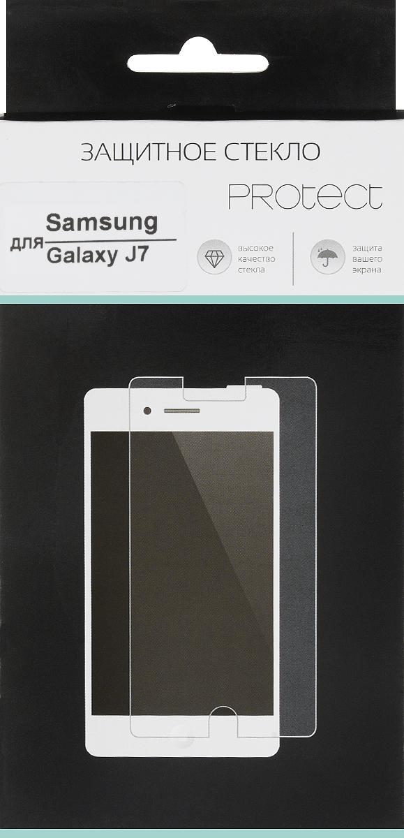 LuxCase Protect защитное стекло для Samsung Galaxy J7 SM-J700F, суперпрозрачное40019Защитное стекло LuxCase Protect для Samsung Galaxy J7 SM-J700F обеспечивает надежную защиту сенсорного экрана устройства от большинства механических повреждений и сохраняет первоначальный вид дисплея, его цветопередачу и управляемость. В случае падения стекло амортизирует удар, позволяя сохранить экран целым и избежать дорогостоящего ремонта. Стекло обладает особой структурой, которая держится на экране без клея и сохраняет его чистым после удаления.