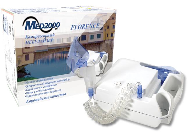 MED 2000 Ингалятор компрессорный Florence (C1)0001504Технические характеристики - Вес: 1700 г. - Питание: ~220-240 В - Давление: ~2 Бар (190-230 kna) - Расход воздуха: 8 л/мин - Объем стакана: 6 мл - Скорость распыления: > 0,25 мл/мин - Шумовой порог: ~40 дБ на 50 см - Режим работы № 1: 1 - 3 мкм - Режим работы № 2: 3 - 5 мкм - Режим работы № 3: 5 - 10 мкм Комплектность: - Компрессор, 2 маски (детская, взрослая), - мундштук, носовые канюли, небулайзер, - силиконовая трубка, резинка для маски - 3 пистона - Режим работы и паузы: 30 мин / 30 мин - Гарантия: 5 лет На сегодняшний день одним из наиболее эффективных направлений лечения заболеваний дыхательных путей и легких является небулайзерная терапия. Небулайзер - устройство, предназначенное для жидких лекарственных веществ, которые под действием сжатого воздуха от компрессора преобразуется в мелкодисперсный аэрозоль. Чем меньше частицы аэрозоля, тем глубже они проникают в дыхательные пути. Лечение верхнего дыхательного...