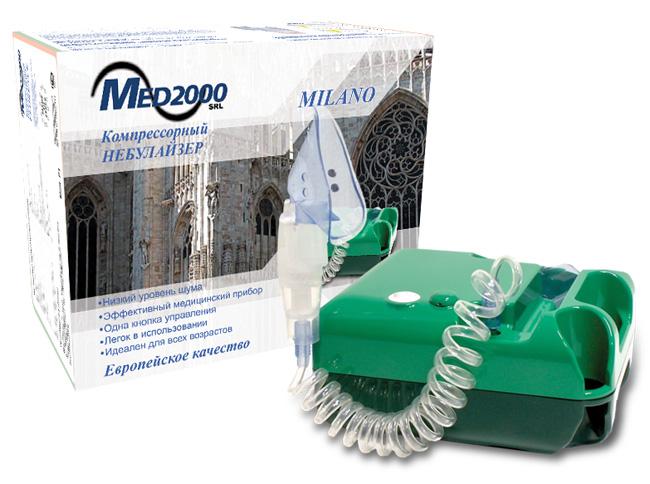 MED 2000 Ингалятор компрессорный Milano (C1)0001505Технические характеристики - Вес: 1700 г. - Питание: ~220-240 В - Давление: ~2 Бар (190-230 kna) - Расход воздуха: 8 л/мин - Объем стакана: 6 мл - Скорость распыления: > 0,25 мл/мин - Шумовой порог: ~40 дБ на 50 см - Режим работы № 1: 1 - 3 мкм - Режим работы № 2: 3 - 5 мкм - Режим работы № 3: 5 - 10 мкм Комплектность: - Компрессор, 2 маски (детская, взрослая), - мундштук, носовые канюли, небулайзер, - силиконовая трубка, резинка для маски - 3 пистона - Режим работы и паузы: 30 мин / 30 мин - Гарантия: 5 лет На сегодняшний день одним из наиболее эффективных направлений лечения заболеваний дыхательных путей и легких является небулайзерная терапия. Небулайзер - устройство, предназначенное для жидких лекарственных веществ, которые под действием сжатого воздуха от компрессора преобразуется в мелкодисперсный аэрозоль. Чем меньше частицы аэрозоля, тем глубже они проникают в дыхательные пути. Лечение верхнего дыхательного тракта –...