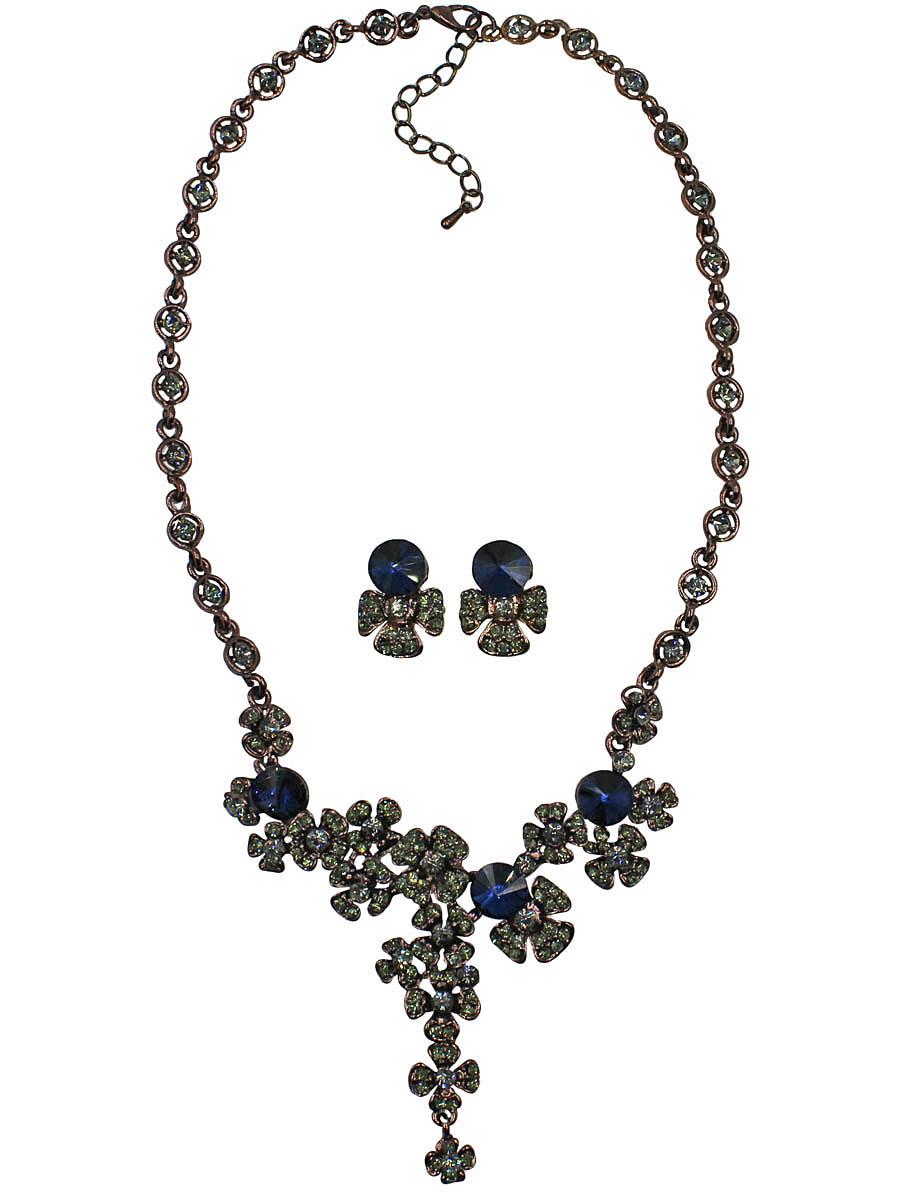 Набор бижутерии женский Taya: серьги, колье, цвет: коричневый, темно-синий. T-B-10841-SET-BR.D.BLUET-B-10841-SET-BR.D.BLUEКомплект украшений из колье и сережек. Серьги-гвоздики с заглушками металл-пластик. Некрупное колье в медном исполнении с темно-синими кристаллами, ограненными на конус. Вокруг россыпь небольших по размеру цветочков-незабудок. Разные народы складывают сво Размеры: длина колье 41 см + удлинение 6,0 см, центральная часть 9,0 см х 5,7 см, серьги 2,0 х 1,5 см.