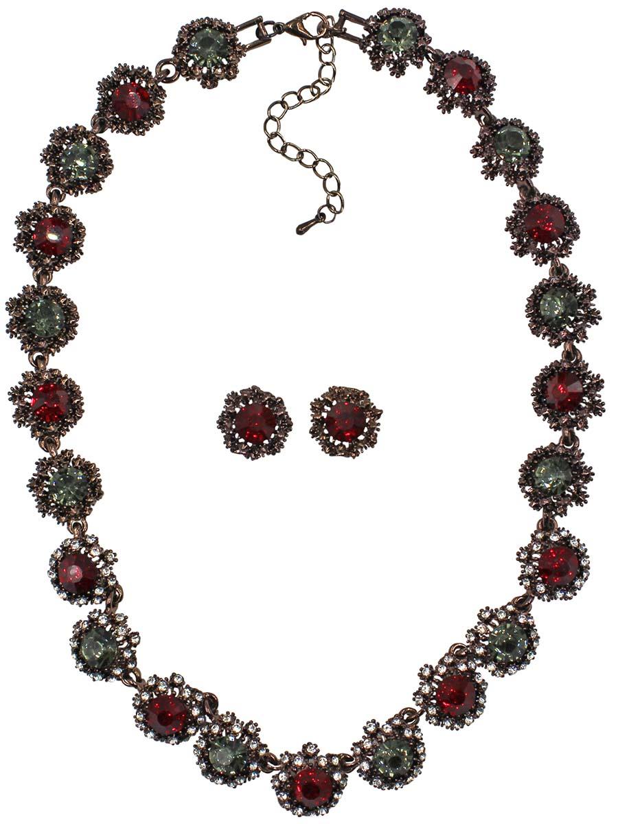 Набор бижутерии женский Taya: серьги, колье, цвет: коричневый, красный. T-B-10854-SET-BR.REDT-B-10854-SET-BR.REDКомплект из колье и серег-гвоздиков с заглушкой металл-пластик. Изящное колье все собрано из некрупных звеньев-цветков с рубиновыми и серыми кристаллами в центре. Центральные кристаллы обрамлены россыпью страз. Кристаллы по бокам в богатой медной рамке. Размеры: длина изделия 40 см + удлинение 7 см, серьги 1,3 х 1,3 см.