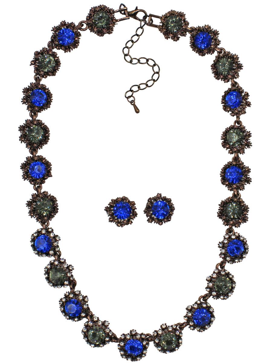 Набор бижутерии женский Taya: серьги, колье, цвет: коричневый, темно-синий. T-B-10856-SET-BR.D.BLUET-B-10856-SET-BR.D.BLUEКомплект из колье и серег-гвоздиков с заглушкой металл-пластик. Изящное колье все собрано из некрупных звеньев-цветков с темно-синими кристаллами в центре. Центральные кристаллы обрамлены россыпью страз. Кристаллы по бокам в богатой медной рамке. Размеры: длина изделия 40 см + удлинение 7 см, серьги 1,3 х 1,3 см.