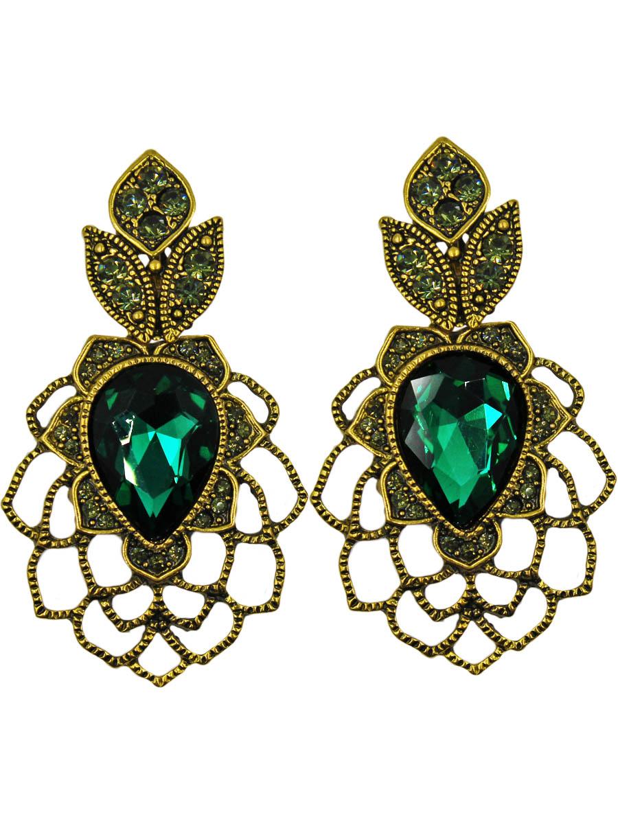 Серьги женские Taya, цвет: золото, зеленый. T-B-10993-EARR-GL.GREENT-B-10993-EARR-GL.GREENСерьги с английским замком, на котором пробит бренд TAYA. Изумрудно-мшистый кристалл в виде перевернутой капли. Вокруг него обозначены воздушные листики. К уху крепятся нераспустившиеся бутоны с серо-зелеными стразами. Размеры: длина серьги 5,5 см, max ширина 3,0 см.