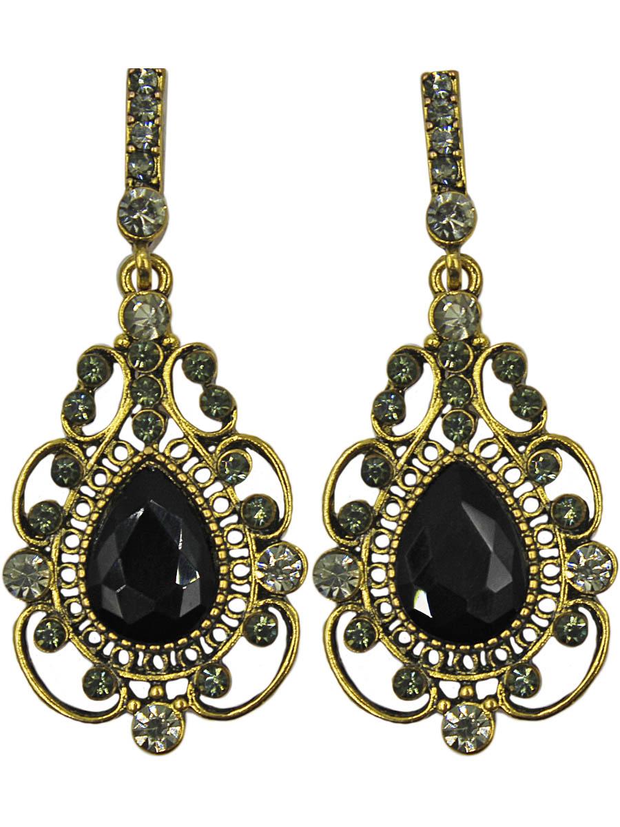 Серьги женские Taya, цвет: золото, черный. T-B-11041-EARR-GL.BLACKT-B-11041-EARR-GL.BLACKСерьги с английским замком, на котором пробит бренд TAYA. Элегантная подвеска с каплевидным кристаллом черного цвета. Вокруг камня витиеватые завитушки и золотая скань. Размеры: длина серьги 5,5 см, ширина 2,3 см.