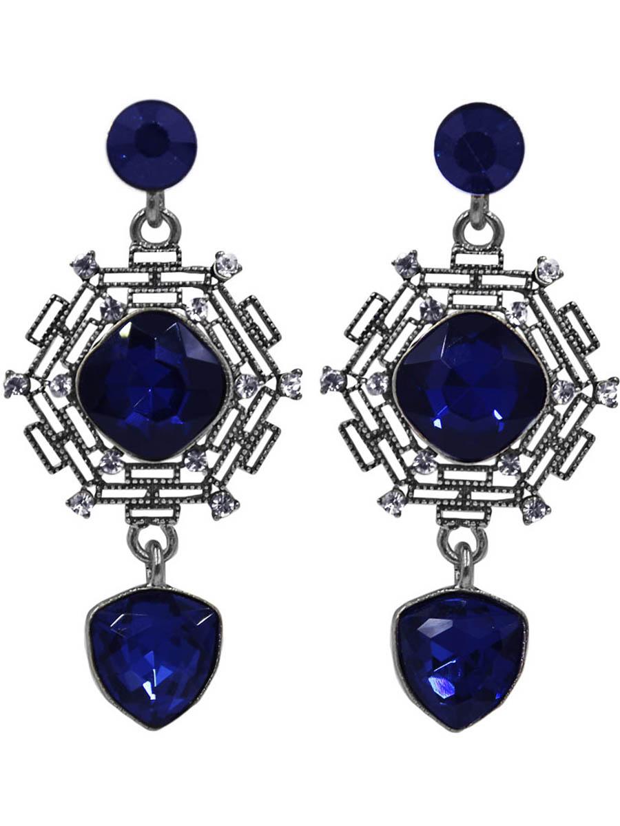 Серьги женские Taya, цвет: серебро, темно-синий. T-B-11060-EARR-SL.D.BLUET-B-11060-EARR-SL.D.BLUEСерьги-гвоздики с заглушкой металл-пластик. Прекрасно ограненные кристаллы, глубокий синий цвет и слегка черненое серебро - такое сочетание придают серьгам эксклюзивность. Размеры: длина серьги 5,5 см, ширина 5,5 см.
