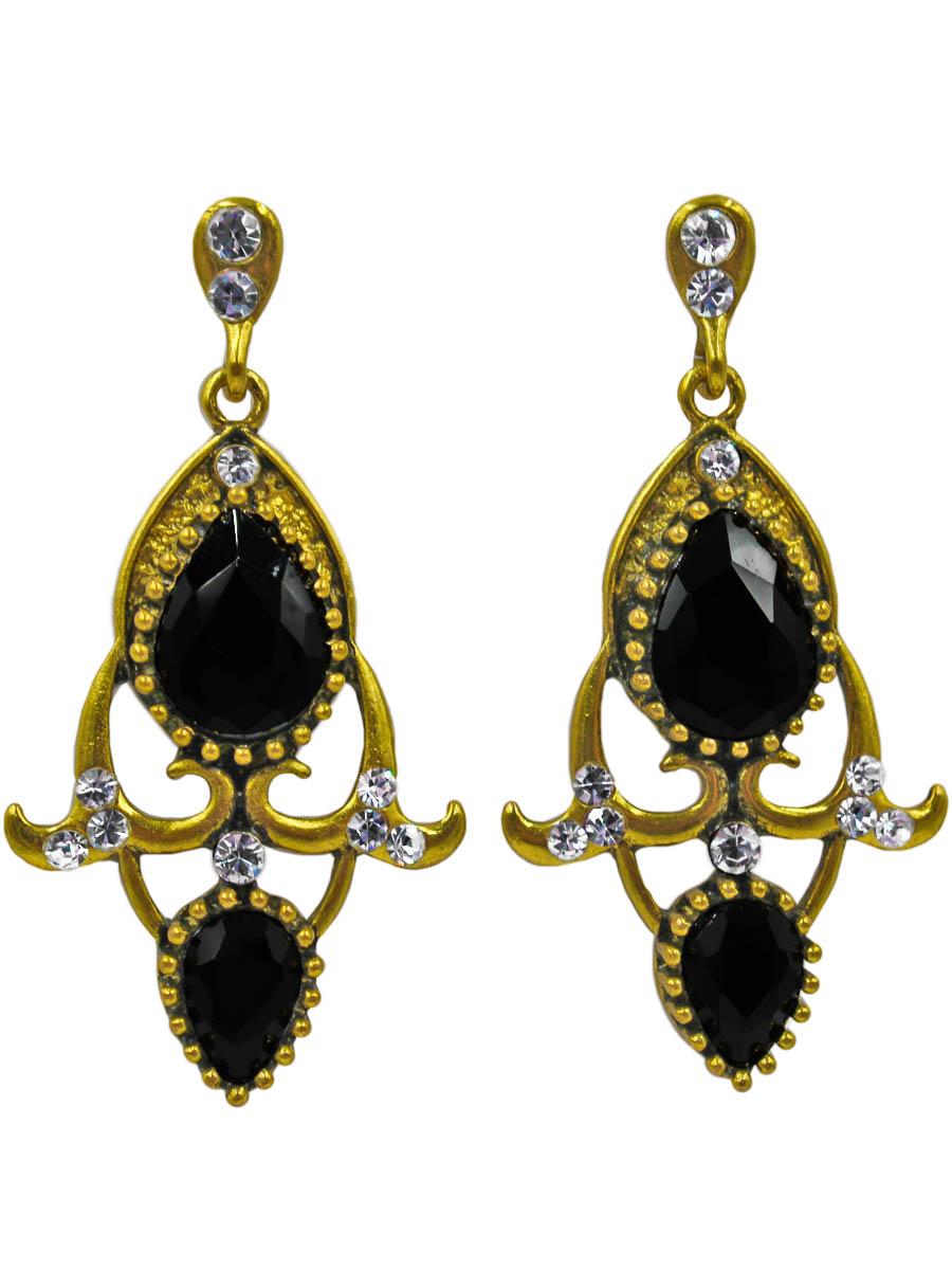Серьги женские Taya, цвет: золото, черный. T-B-11077-EARR-GL.BLACKT-B-11077-EARR-GL.BLACKСерьги-гвоздики с заглушкой металл-пластик. Два каплевидных графитово-черных кристалла в обрамлении металлических завитушек с чернением. Винтажное украшение стилизовано под современное. Размеры: длина серьги 5,5 см, ширина 2,5 см.