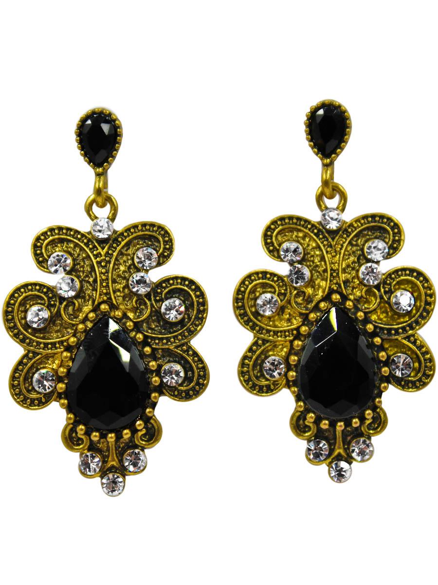 Серьги женские Taya, цвет: золото, черный. T-B-11083-EARR-GL.BLACKT-B-11083-EARR-GL.BLACKСерьги-гвоздики с заглушкой металл-пластик. Винтажное украшение с крупным цвета черного янтаря кристаллом в центре. Золото искусственно состарено. Смотрится очень эффектно. Размеры: длина серьги 4,8 см, ширина 2,5 см.