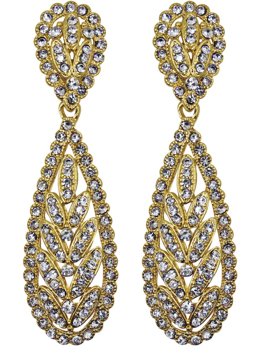 Серьги женские Taya, цвет: золото. T-B-11119-EARR-GOLDT-B-11119-EARR-GOLDСерьги с английским замком. Выполнены в классическом золоте с прозрачными кристаллами Форма вытянутая, удлиненная. Плавные линии и колоски листиков придают очарование и женственность сережкам. Размеры: длина серьги 6,7 см, ширина 1,8 см.