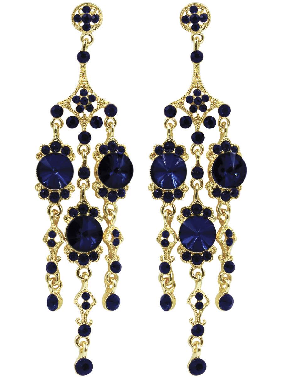 Серьги женские Taya, цвет: золото, темно-синий. T-B-11218-EARR-GL.D.BLUET-B-11218-EARR-GL.D.BLUEСерьги-гвоздики с заглушкой металл-пластик. Крупные серьги на выход с тремя подвесками и темно-синими стразами. Идеально подойдут к маленькому черному платью. Размеры: длина серьги 10,0 см, ширина 2,5 см.