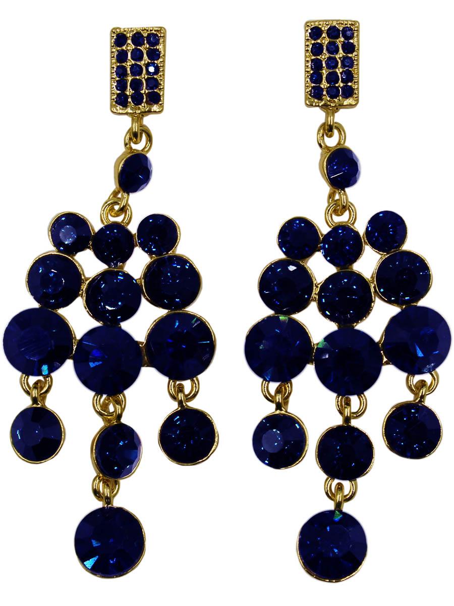 Серьги женские Taya, цвет: золото, темно-синий. T-B-11220-EARR-GL.D.BLUET-B-11220-EARR-GL.D.BLUEСерьги с английским замком , на котором пробит бренд TAYA. Нарядные крупные серьги с тремя рядами подвесок. Стразы огранены на обрезанный конус. Поражает глубокий темно-синий в черноту цвет кристаллов. Размеры: длина серьги 8,2 см, ширина 3,0 см.