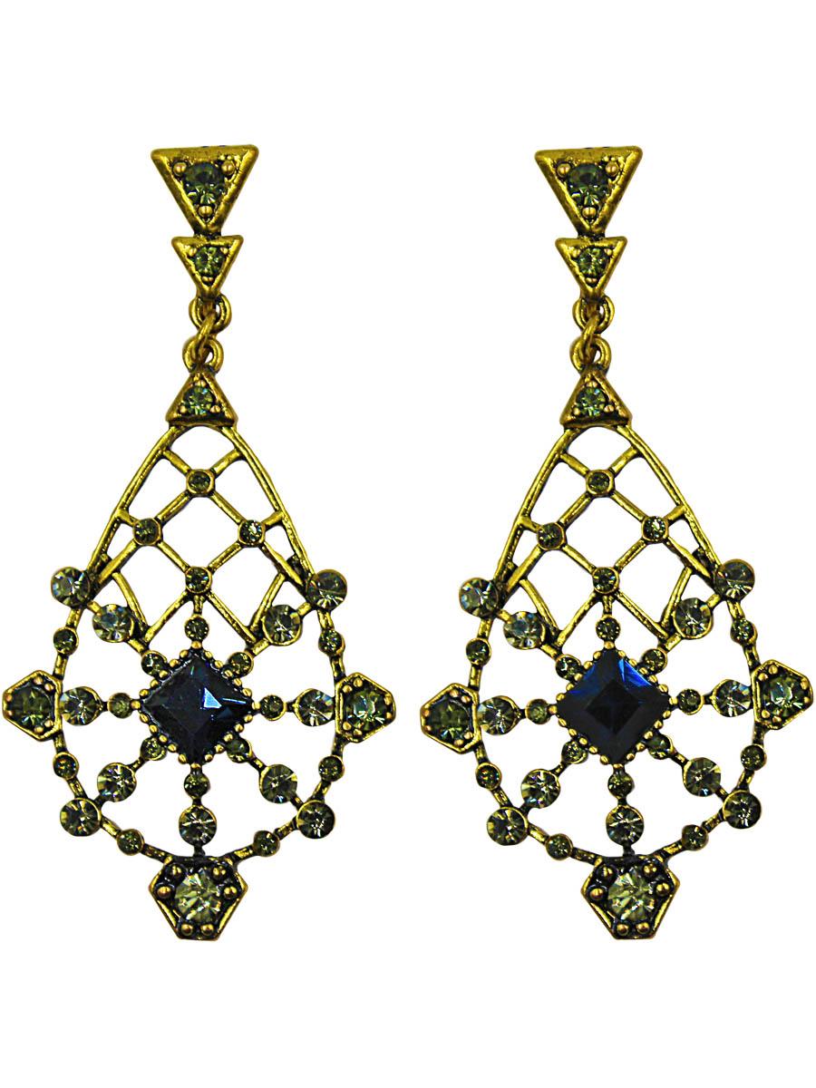Серьги женские Taya, цвет: золото. T-B-11248-EARR-NV.D.GOLDT-B-11248-EARR-NV.D.GOLDСерьги с английским замком. Винтажное украшение с серыми и синими кристаллами, вплетенными в узорчатую решетку. Размеры: длина серьги 6,0 см, ширина 2,6 см.