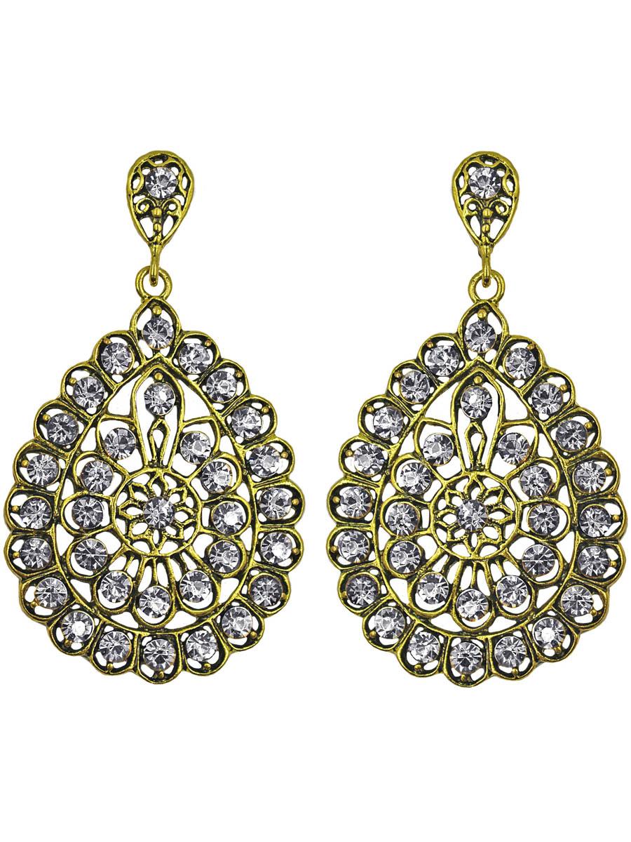 Серьги женские Taya, цвет: золото, прозрачный. T-B-11255-EARR-GL.CLEART-B-11255-EARR-GL.CLEARСерьги с английским замком. Шикарное панно из кристаллических страз и черненого золота овальной формы. Размеры: длина серьги 6,7 см, ширина 3,7 см.