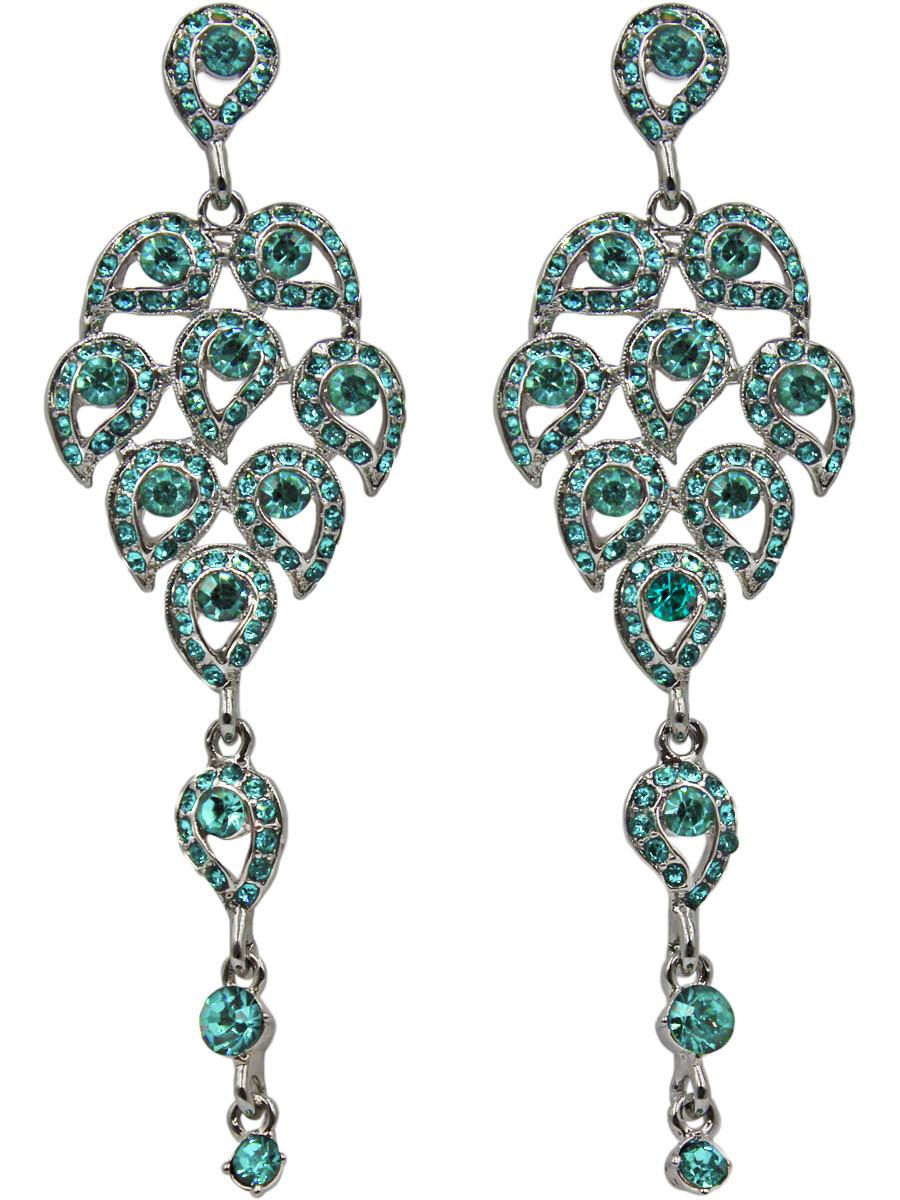 Серьги женские Taya, цвет: серебро, бирюзовый. T-B-11270-EARR-SL.TURQT-B-11270-EARR-SL.TURQСерьги-гвоздики с заглушкой металл-пластик. Серьги-шандельеры, крупные, заметные, с кристаллами изумительного цвета морской волны. Собраны из многочисленных листиков и подвижной подвески. Размеры: длина серьги 9,0 см, ширина 2,5 см.