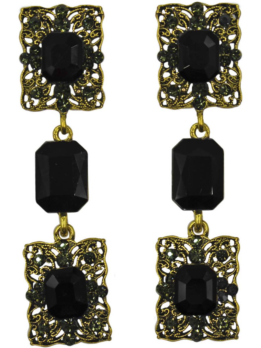 Серьги женские Taya, цвет: золото, черный. T-B-11320-EARR-GL.BLACKT-B-11320-EARR-GL.BLACKСерьги с английской застежкой. Все детали прямоугольной формы. черничные кристаллы в рамке из тоненьких золотых прутиков. Теплые, спокойные серьги. Размеры: длина серьги 6,2 см, ширина 1,6 см.