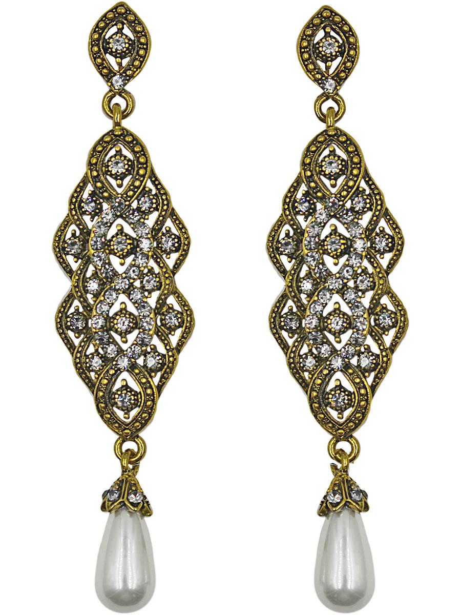 Серьги женские Taya, цвет: золото, хематит. T-B-11335-EARR-GL.HEMATITET-B-11335-EARR-GL.HEMATITEСерьги с английским замком, на котором пробит бренд TAYA. Длинные красивые серьги с восточной сканью и продолговатой жемчужиной. Размеры: длина серьги 9,0 см, ширина 2,0 см.