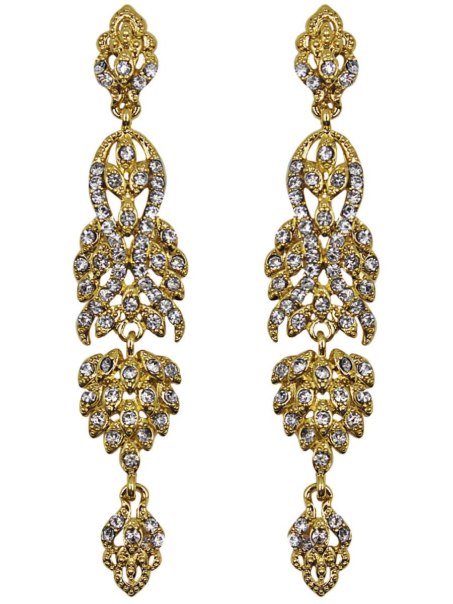 Серьги женские Taya, цвет: золото. T-B-11345-EARR-GOLDT-B-11345-EARR-GOLDСерьги с английским замком. Длинные висячие сережки, украшенные множеством страз, способны грациозно удлинить шею. Совершенно фантазийный дизайн: тонкие полоски золотистого металла изгибаются, извиваются и сливаются в результате в законченную композицию. Размеры: длина серьги 9,0 см, максимальная ширина 1,7 см.
