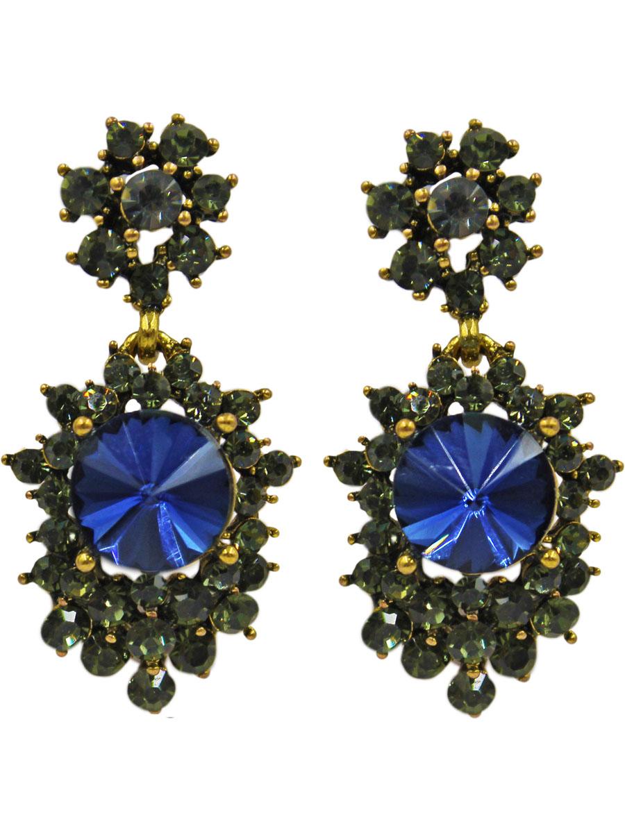 Серьги женские Taya, цвет: хематит, темно-синий. T-B-11363-EARR-HM.D.BLUET-B-11363-EARR-HM.D.BLUEСерьги-гвоздики с заглушкой металл-пластик. Состоят из двух подвижно соединенных частей. Верхняя -цветок с серо-зелеными стразами, нижняя - крупный сапфировый кристалл с окружении таких же страз. Размеры: длина серьги 4,0 см, ширина 1,5 см.