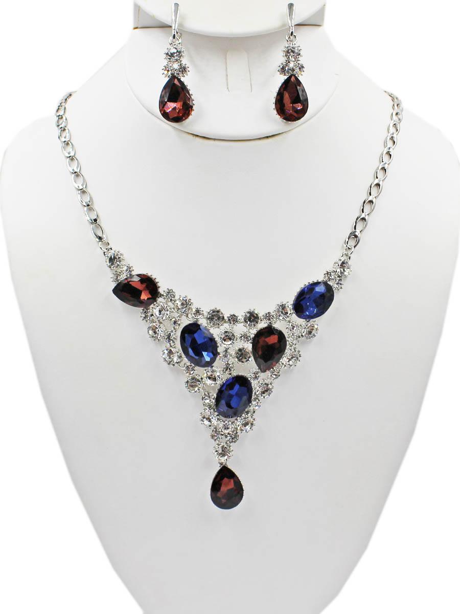 Набор бижутерии женский Taya: серьги, колье, цвет: серебро, разноцветный. T-B-11506-SET-SL. MULTI
