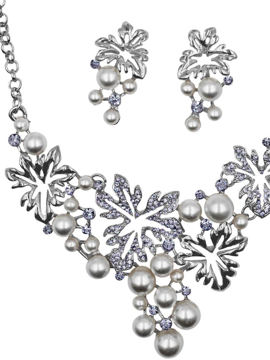Набор бижутерии женский Taya: серьги, колье, цвет: серебро. T-B-11515-SET-SILVER