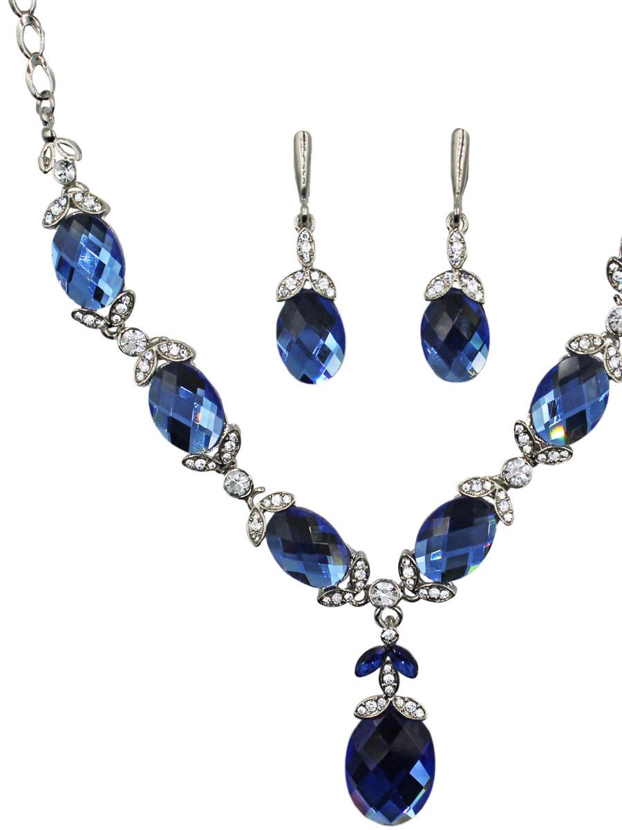 Набор бижутерии женский Taya: серьги, колье, цвет: серебро, темно-синий. T-B-11529-SET-SL.D.BLUE