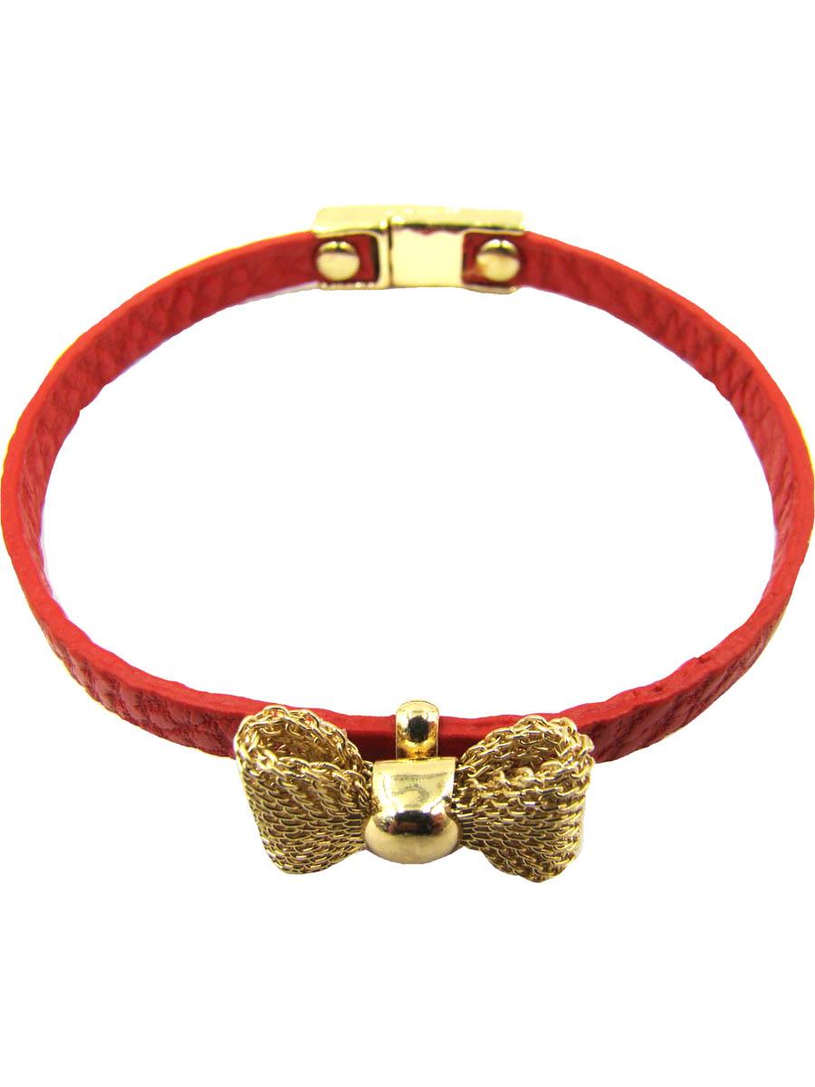 Браслет женский Taya, цвет: золотой, красный. T-B-5393-BRAC-GL.REDT-B-5393-BRAC-GL.REDИзящный кожаный браслет с нежным бантиком из сеточки, застегивается на очень удобную магнитную застежку.